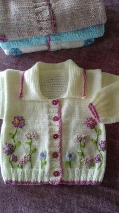 """Baby girl cardigan """"Spring Flowers"""" Delicate, light weigh, hand-knitted and embroidered cardigan is a head turner! Absolutely beautiful piece will. Baby Sweater Patterns, Baby Cardigan Knitting Pattern, Baby Knitting Patterns, Knitting For Kids, Baby Girl Cardigans, Girls Sweaters, Baby Sweaters, Crochet Baby Poncho, Knitted Baby Cardigan"""