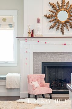 simple valentine's mantel