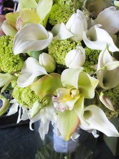 White calla and green cymbid bouquet