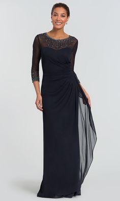 Long Three-Quarter-Sleeve Mother-of-the-Bride Dress Společenské Šaty 01af8428fe