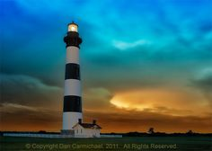 Bodie Lighthouse Outer Banks North Carolina during a tropical storm.