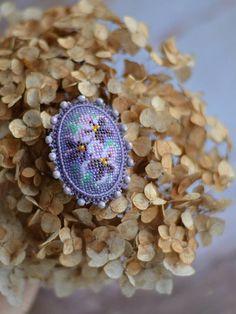 Violets Bead Embroidery Brooch Beaded Flowers Brooch Purple