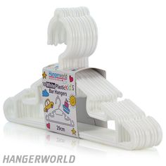 Children's White Plastic Bar Hangers - 30cm