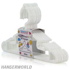 Children's White Plastic Bar Hangers - 30cm