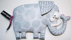 ElephanT named Tabitha ...WhimSicaL  WaLL ArT ...  grey polka dots