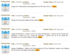 Puducherry Tenders Online, Find all updated Puducherry Tenders, Puducherry E-Tenders, Puducherry Government Tenders , Puducherry Tenders notices online at tenderdetail.com.