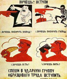 Cartaz produzido por Maiakovski para campanha de estímulo ao trabalho. (Vladimir Maiakovski 1893-