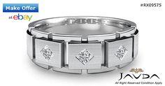 Princess Diamond Mens Half Wedding Block Link Band 14k W Gold 8.6mm Ring 0.30Ct