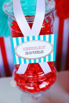 PRINTABLE FANCY LABELS - Red & Blue Candy Circus Birthday Collection - The TomKat Studio. $6.50, via Etsy.