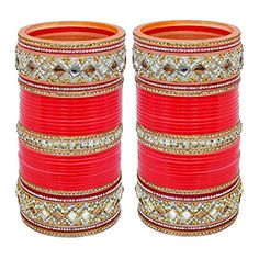 2.4 S Bollywood Bangles Bracelet Indian Punjabi Bridal Jewellery Chura Red D8 Year-End Bargain Sale Bridal & Wedding Party Jewelry