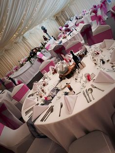 Wedding Venue, Marquee Wedding, Pink & Blue Theme, Flowers, Shipley, West Yorkshire, Fish Bowl Centre Pieces, Log Centre PIeces, Candles, Trees, Rustic