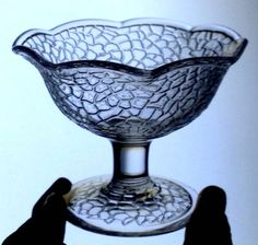 3x-L-E-SMITH-GLASS-pre-depression-BY-CRACKY-crackle-SHERBET-DISHES-ruffle-edge