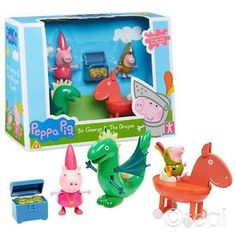 New-Peppa-Pig-Sir-George-The-Dragon-Figure-Playset-Chest-Princess-Official