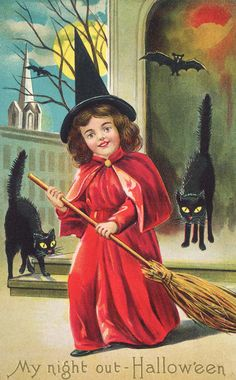 c. 1910 An American Halloween greeting card depicting a girl dressed as a witch and surrounded by black cats and bats.