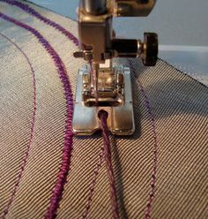 Couching is simply sewing a heavy thread in place with a finer thread. Its a…
