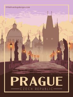 © 2021 Little Blue Dog Designs Prague Czech Republic, Europe, Rest Of The World, Vintage Travel Posters, Art Pages, Colour Schemes, Dog Design, North America, Poster Prints
