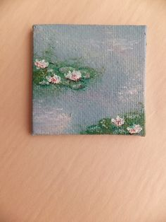 Miniature Monet Paintings - Blue Purple and Scarlett Small Canvas Paintings, Easy Canvas Art, Small Canvas Art, Cute Paintings, Mini Canvas Art, Monet Paintings, Indian Paintings, Small Art, Abstract Paintings