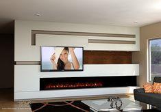 Modern media wall design with long, modern fireplace