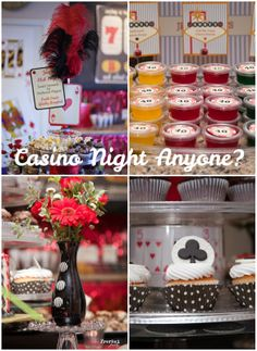 #Casino Night All in at Forty: Birthday Party. Lots of fun desserts, photo props and hello! #jello shots.