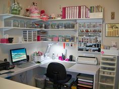 The post Lena's Creations: Craft Room Revamped! 2019 appeared first on Scrapbook Diy. Sewing Room Design, Craft Room Design, Sewing Rooms, Craft Room Decor, Craft Room Storage, Room Organization, Workshop Storage, Craft Room Shelves, Project Life Organization