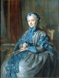 Title Portrait of Madame de Rieux in Ball-Dress by Maurice Quentin de La Tour,(1704 –  1788), a French Rococo portraitist