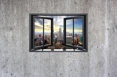 New York Through Window - Concrete Wall - Wall Mural & Photo Wallpaper - Photowall Wallpaper Paste, New York, Concrete Wall, Photo Wallpaper, Wall Murals, Windows, Mirror, Frame, Prints