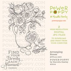 Arranging Roses Digital Stamp Set | Power Poppy by Marcella Hawley