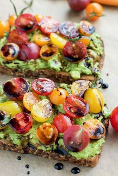 Avocado Toast with Tomatoes & Balsamic Vinegar. Add a little pepper & salt.