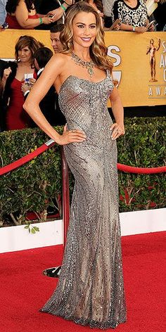 699d1a3af9 The most beautiful red carpet looks Picture Description SOFIA VERGARA  wearing Donna Karan Atelier gown.
