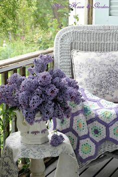Aiken House & Gardens: It's lilac season in our garden and on our porch Purple Lilac, Shades Of Purple, Purple Flowers, Rose Flowers, Purple Rain, Shabby Chic Stil, Shabby Chic Homes, Color Lavanda, Lavender Cottage