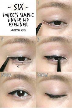 Make-up 6 K-pop Inspired Korean Style Eyeliners Tutorial Makeup Korean Style, Korean Makeup Tips, Asian Eye Makeup, Makeup Style, Beauty Makeup, Korean Makeup Tutorials, Korean Makeup Tutorial Natural, Beauty Style, Makeup Art