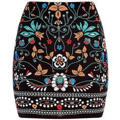 Marni Black Embroidered Print Mini Skirt ($21) ❤ liked on Polyvore featuring skirts, mini skirts, bottoms, saias, marni skirt, marni, embroidered skirt, mini skirt and short skirts