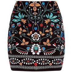Marni Black Embroidered Print Mini Skirt (100 DKK) ❤ liked on Polyvore featuring skirts, mini skirts, bottoms, saias, marni, marni skirt, short mini skirts, embroidered skirt and embroidered mini skirt