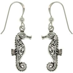 Carolina Glamour Collection Sterling Silver Celtic Seahorse Earrings ($30) ❤ liked on Polyvore featuring jewelry, earrings, white, long dangle earrings, sterling silver seahorse earrings, celtic jewelry, dangle earrings and seahorse jewelry