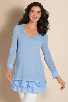 Soft 2 Layer Top - Loose Fit Top For Women, Ladies Scoop Neck Top, Ruffle Top   Soft Surroundings