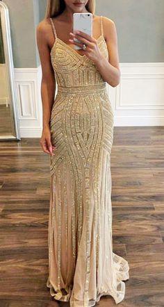 c7cd22d0da luxurious gold prom dress, sequined mermaid prom dress, 2019 prom dress,  formal evening