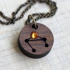 Libra Necklace with Birthstone Zodiac by TinyWhaleStudio on Etsy, $32.00