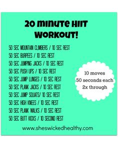 20 minute hiit workout - Google Search