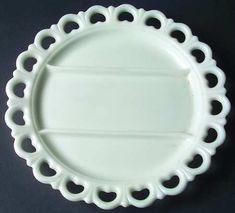 "Anchor Hocking Lace Edge-Milk Glass 3-Part Relish Dish.  It's almost 13"" across.  Late 1950s-1960s."