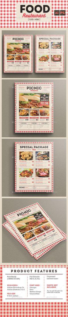 Retro Flyer Menu Food Restaurant Template PSD, AI #design Download: http://graphicriver.net/item/retro-flyer-menu-food-restaurant/13665015?ref=ksioks