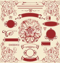 Vintage and retro design elements for a wedding invite - Vector Graphics