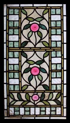 Rare Art Nouveau Pink Rondels Antique English Stained Glass Window #artsandcraftsantique,