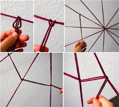 How to make your own Yarn Spider web.  Shows how to make the knots and everything.