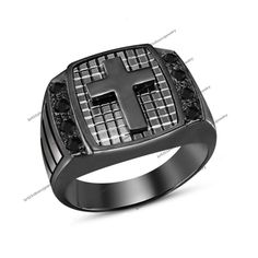AAA Diamond 18K Black Gold Finish 925 Silver Newly Designs Men's Cross Ring #br925 #MensCrossRing