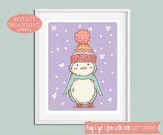 Nursery Printable, Nursery Wall Art, Penguin Nursery, Penguin Wall Art, Printable Nursery, Nursery Print, Instant Download, Kids Wall Art