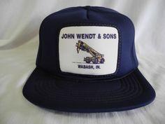 Vtg John Wendt & Sons Snapback All Foam Truckers Hat Baseball Cap Wabash Indiana #Unbranded #TruckerHat