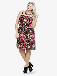d6f36a2ad08f Floral Chiffon Dress-- goes up to this would look so cute with a frilly  black blouse under it