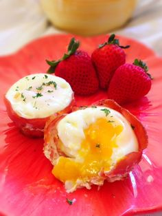 Baked Proscuitto Eggs--did mine about 13 minutes for soft yolks and sprinkled fresh chives on top.