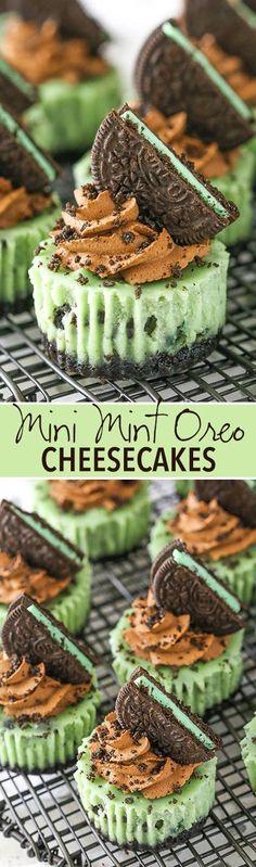 Mini Mint Chocolate Oreo Cheesecakes