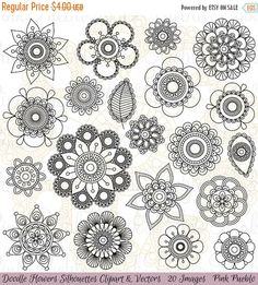 50% OFF SALE Doodle Flowers Silhouettes Clipart Clip by PinkPueblo